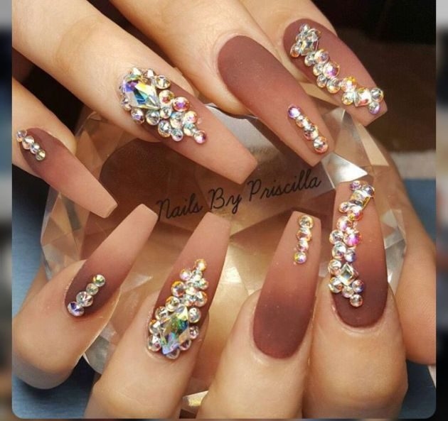 ombre coffin nails with rhinestones