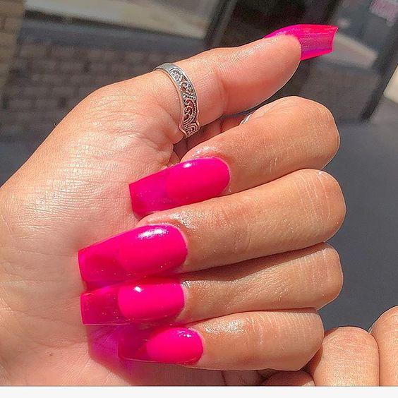 pink transparent magenta nail art