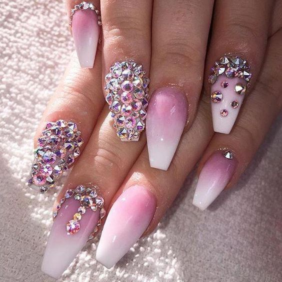 pretty ombre coffin nails with diamonds