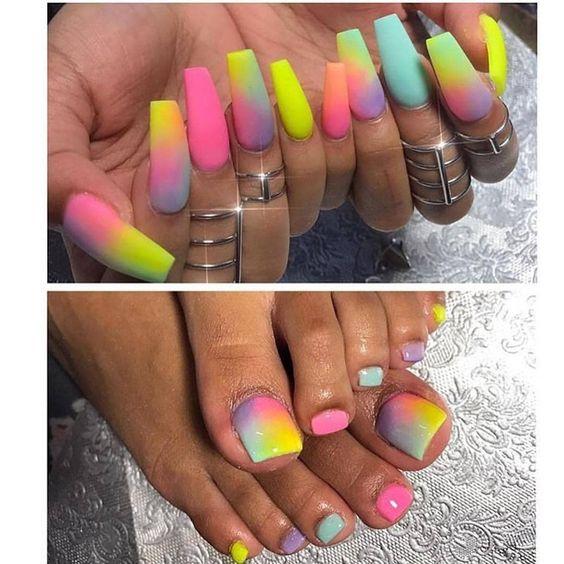 rainbow acrylic nail art