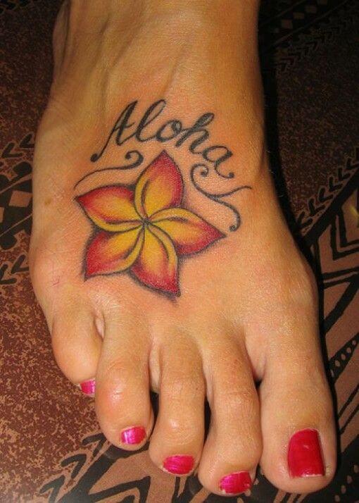 3d tribal plumeria hawaiian flower with name tattoo design on foot