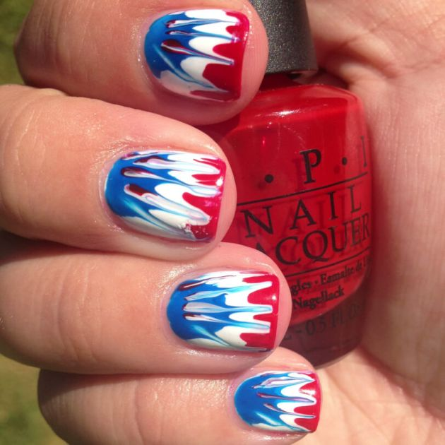 4th of july marble nail art