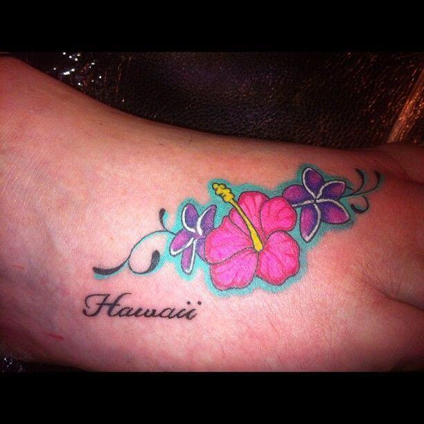 hibiscus and plumeria hawaiian flowers tattoo design on foot