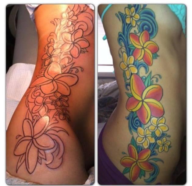 plumeria flower swirl side ribs Tattoo design