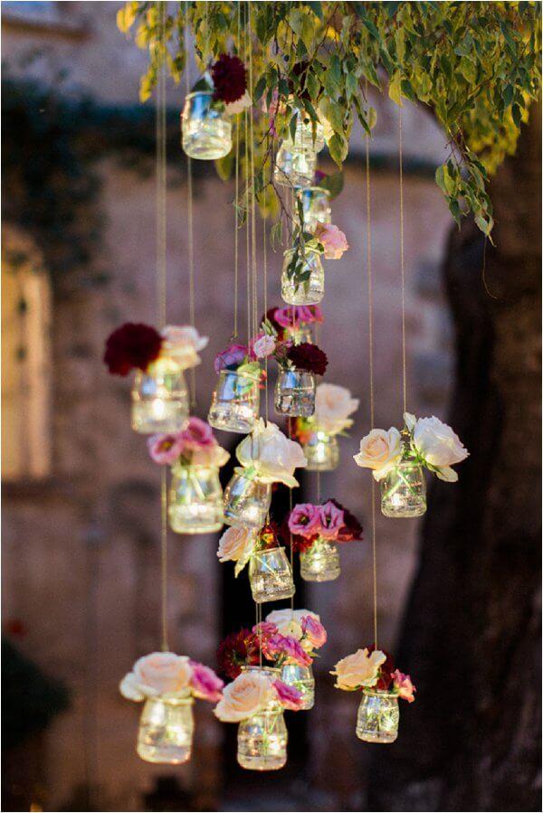 hanging light jars for summer garden party decors