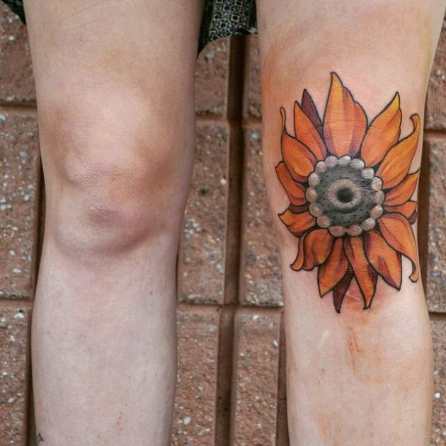 sunflower tattoo design on knee cap