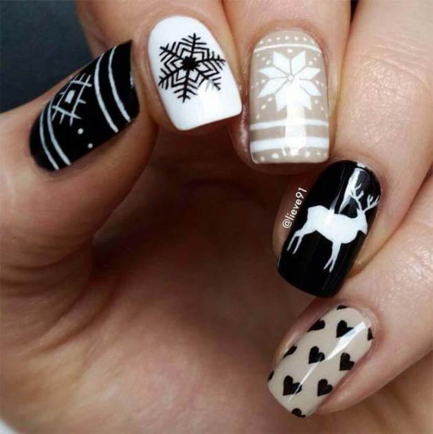 christmas holiday nail art designs