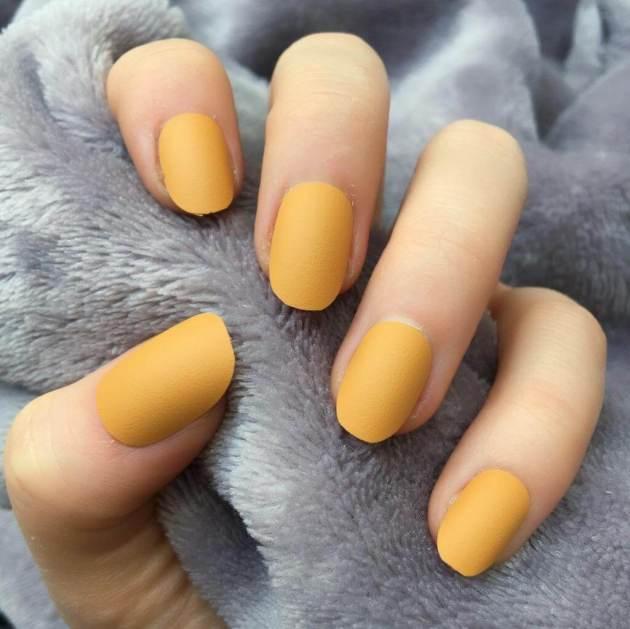 mustard matte nails