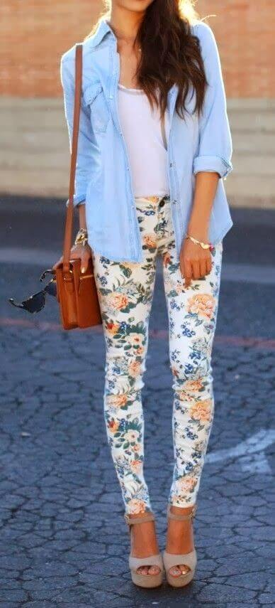 floral pant casual outfit ideas for girls