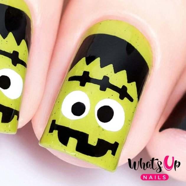 frankenstein monster nail art