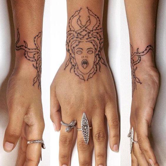 medusa head tattoo sketch on wrist