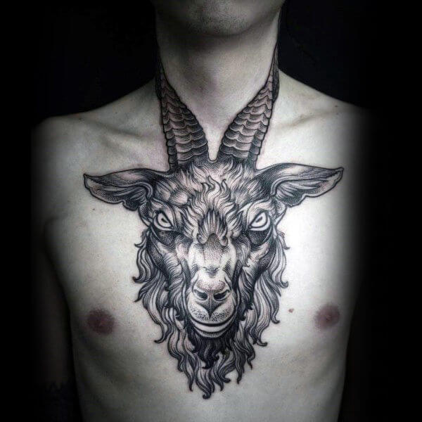 ram face tattoo on chest