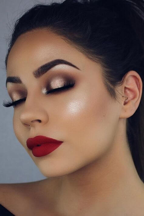 red lips and champagne eye makeup for black dress