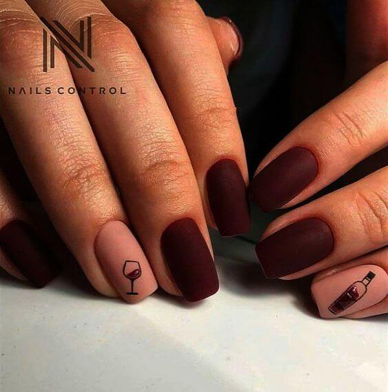 matte nail designs with wine