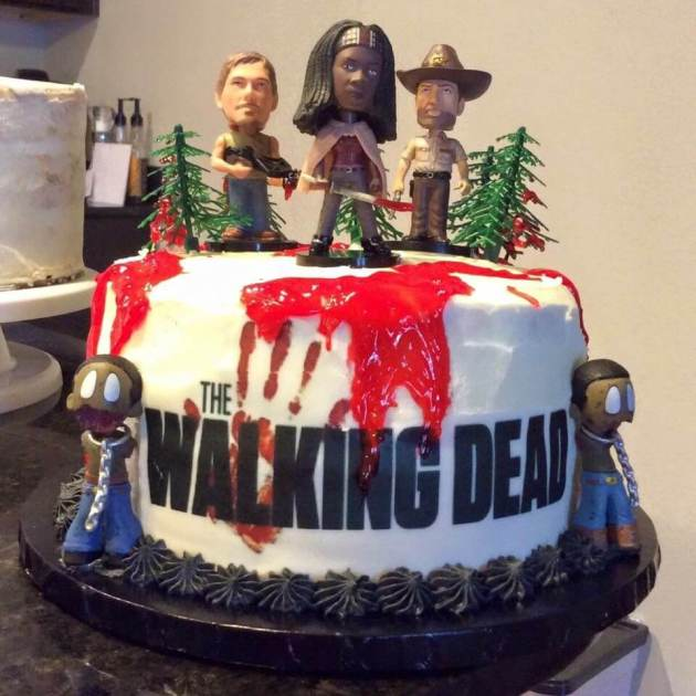 the walking dead cast on the halloween wedding cake