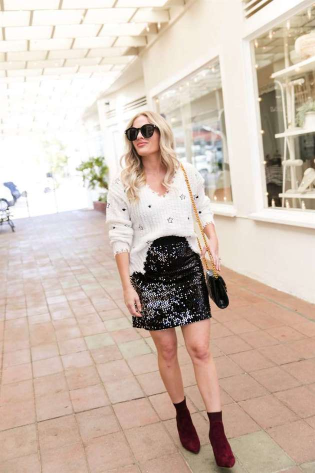 black sequin skirt girls outfit ideas for christmas holidays season
