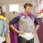 """Josh Duhamel and Jamie Kennedy in Underwear, Capes for their Nick Series, """"Fanboy and Chum Chum"""""""