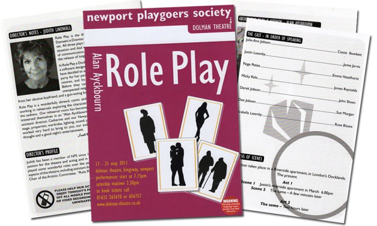 Programme for Newport Playgoers production of  Role Play  at Newport's Dolman Theatre