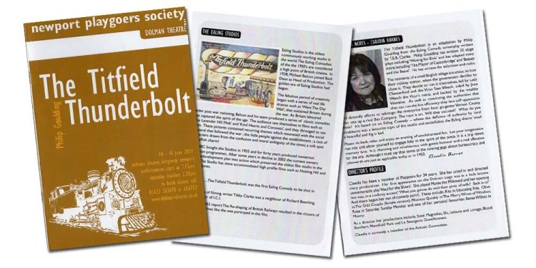 Selections of pages from Newport Playgoers programme for their 2011 presentation of The Titfield Thunderbolt.