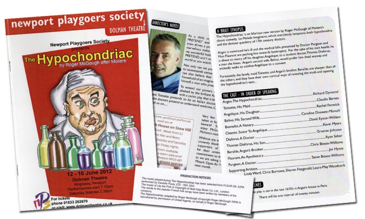 Pages from Newport Playgoers production of The Hypochondriac programme from June 2012.