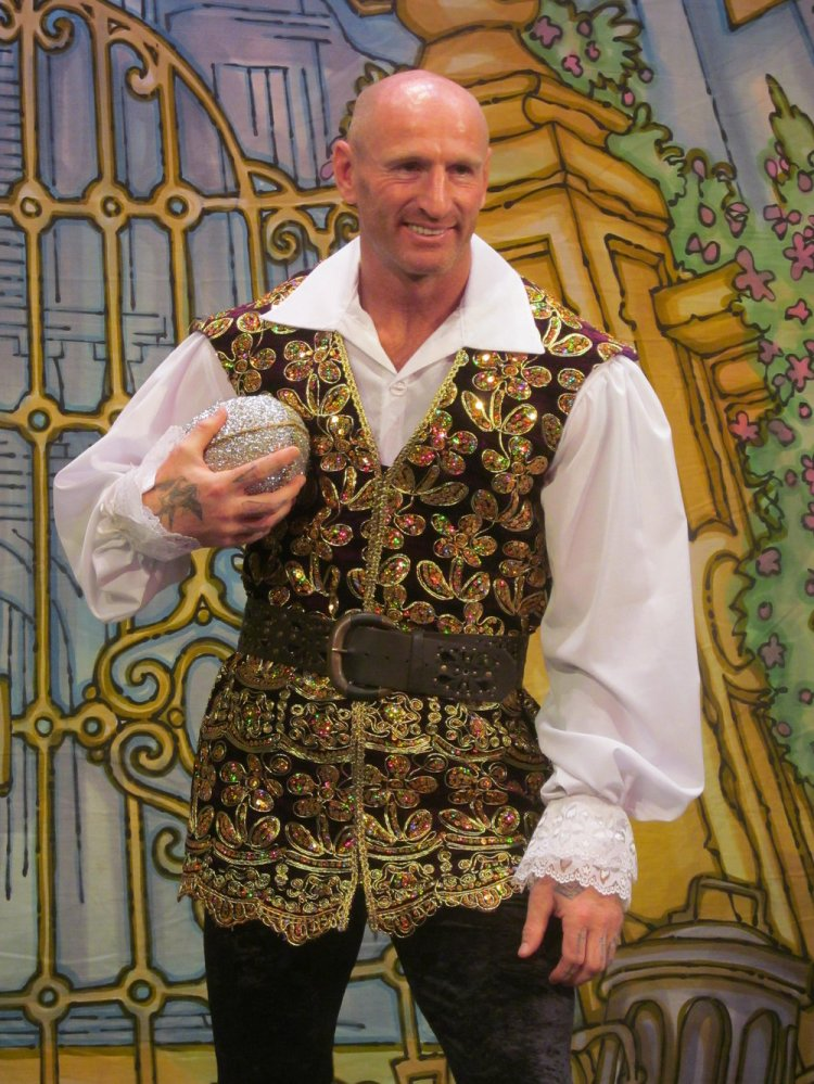 Wales Rugby legend gets into the role of Dandini at Cardiff's New Theatre for the pantomime, Cinderella. Photo: Andy Howells