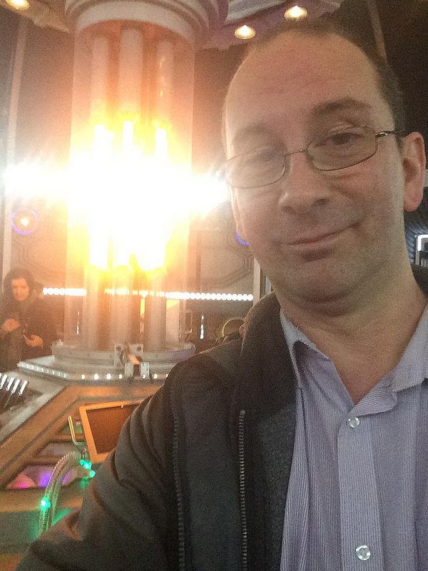 Andy Howells on the TARDIS set at BBC Roath Lock Studios, Cardiff