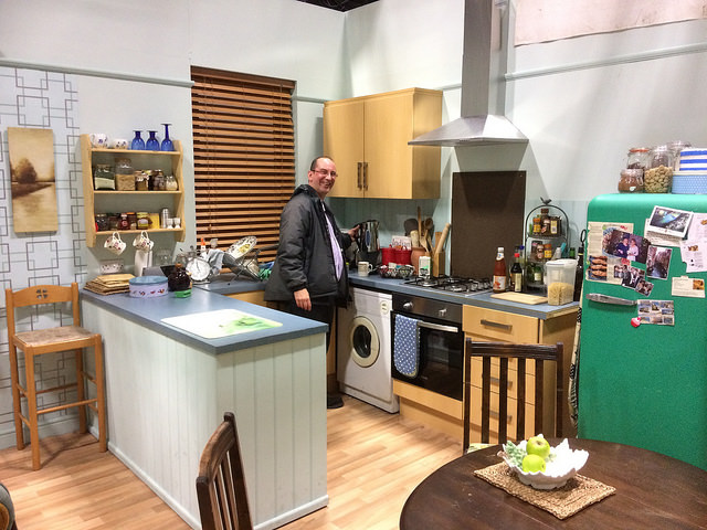 Andy Howells visiting an interior set on Pobol Y Cwm