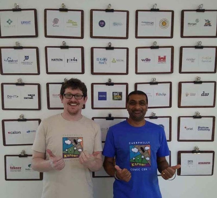 Craig Mapstone, left, director at     W3iRDTRiANGL3,     and Vik Yadh promoting the official Caerphilly Comic Con T-shirt at the ICE Business centre in Caerphilly.     W3iRDTRiANGL3     designed the official T-shirt and will be selling it on the day (pre-orders via their website       http://www.weirdtriangle.com/      )