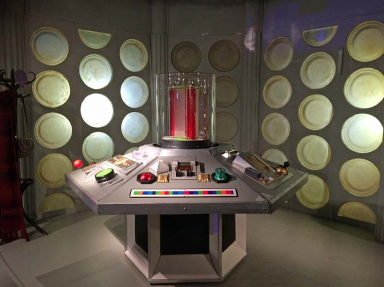 A replica of Tom Baker's Doctor Who era TARDIS control room at the Doctor Who Experience