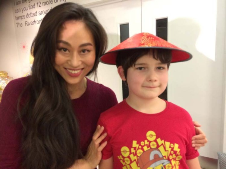 Meeting Sunny Yeo who plays The Empress in Aladdin in Newport Riverfront's 2017 production of Aladdin.