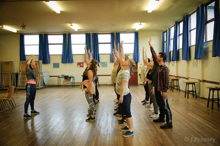 Glass Ceiling Theatre Company in rehearsals for The Wedding Singer. Photo: J Pentney