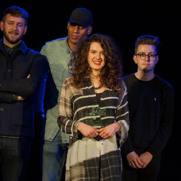Cardiff singer/songwriter Evie Rowlands pictured with finalists at Grand Final of Future Music's National Songwriting Competition 2017