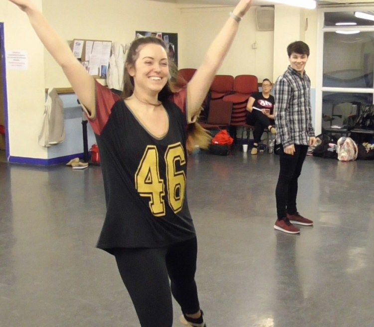 Becci Jarvis and Chris Davies in rehearsals for Centrestage Cymru's T op Hat