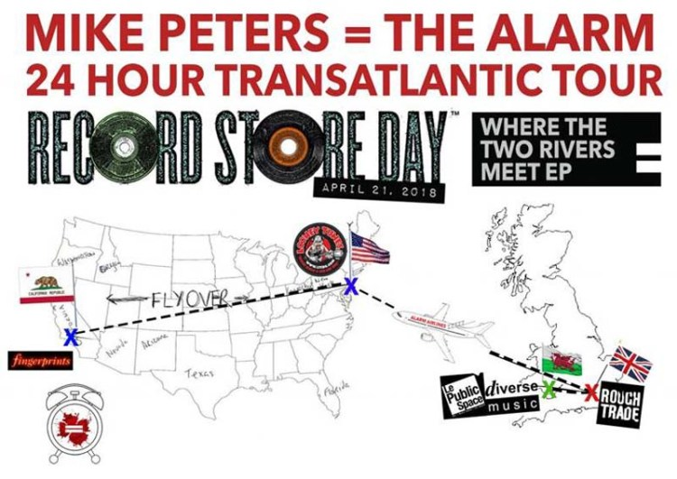 Mike Peters route for the Record Store Day Transatlantic Tour, of which he will undertake from Newport. South wales to California in 24 Hours