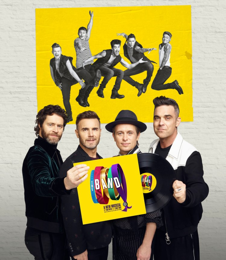 Howard Donald, Gary Barlow, Mark Owen and Robbie Williams at the launch of The Band which plays Swansea Grand from Januaury 29 to February 2, 2019