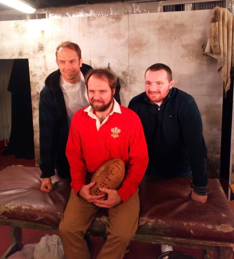 Gareth J Bale with Alun Wyn Jones and Ken Owens.