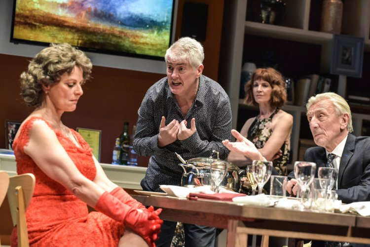 Gillian Bevan, Nick Hancock,  Carolyn Backhouse and Eric Richard in the comedy farce, Octopus Soup! which runs at Cardiff's New Theatre until April 13, 2019.