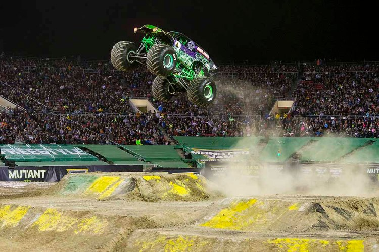Grave Digger literally jumps for joy as Monster Jam® visits Cardiff's Principality Stadium on May 18, 2019.