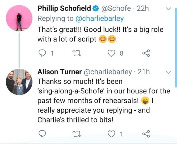 Philip Schofield's tweet to Charlie about Dr Dolittle Jr