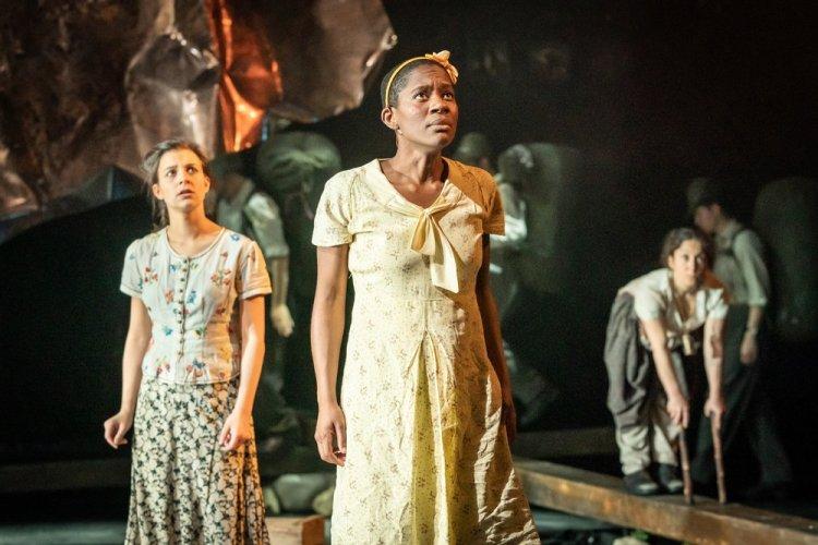 Madison Clare as Pelagia, Kezrena James as Lemoni, Luisa Guerreiro as Goat in Captain Corelli's Mandolin, Photo: Marc Brenner