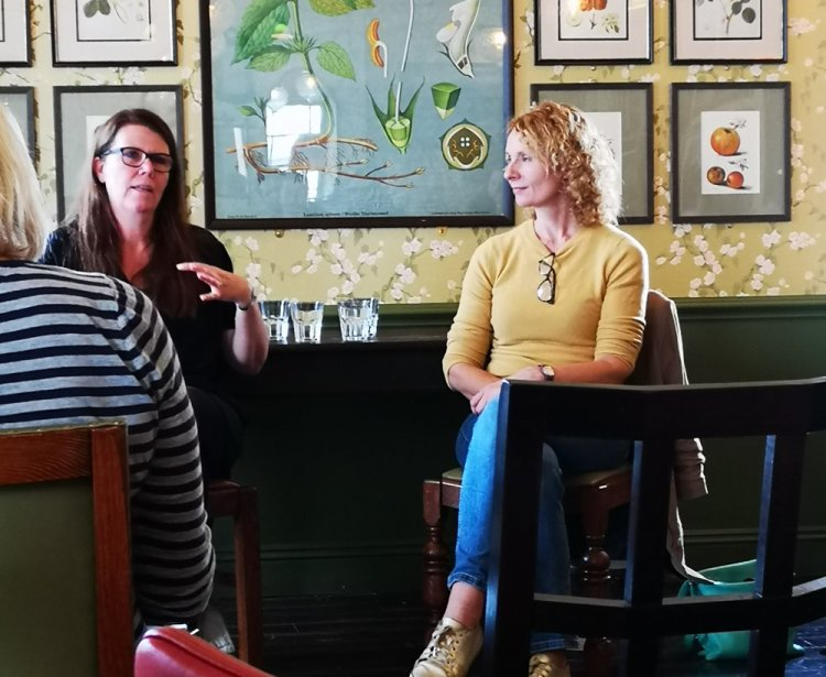Bee Wilson and Danish food and food culture specialist, Trine Hahnemann discussing  Food, Families and Life . at the Portico Lounge, Abergavenny. Photo: Entertainment South Wales
