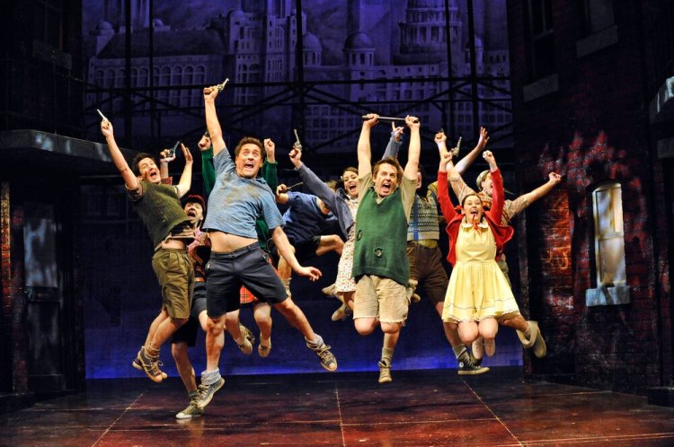 The ensemble cast in  Blood Brothers  which continues its run at Cardiff's New Theatre until September 28, 2019.