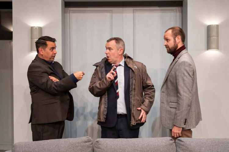 Richard Tunley, Keiron Self and Gareth J Bale in Black Rat Productions ART which continues at the Royal Welsh College of Music and drama's Richard Burton Theatre until November 10 2019.