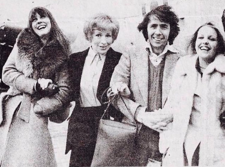 Judy Matheson with Yootha Joyce, Richard O Sullivan and Sally Thomsett during the 1975 tour of  Boeing-Boeing.  Photograph courtesy of Judy Matheson Collection.