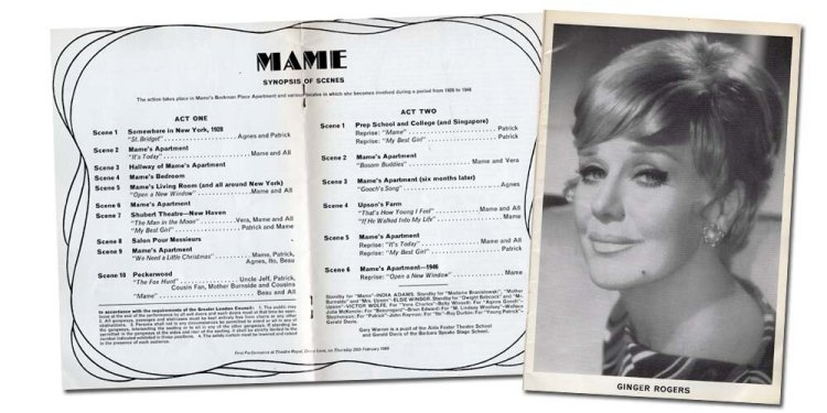 Pages from the 1969 programme of Mame featuring Ginger Rogers in the title role.