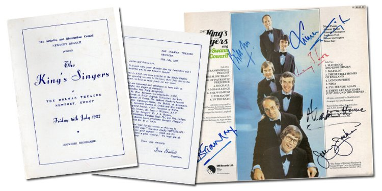 Pages from The Kings Singers souvenir programme of their 1982 performance at Newport's Dolman Theatre along with the autographed album sleeve .