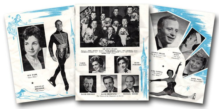 Pages from the 1962 programme of Tom Arnold Ice Presentation of Snow White and The Seven Dwarfs at Granby Halls, Leicester