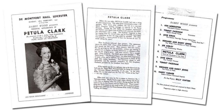 Page selections from the souvenir programme of Petula Clark's appearance at Leicester's De Montfort Hall in February 1951.