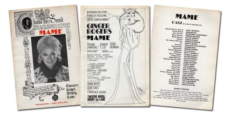 Page selections from the 1969 Theatre Programme of  Mame.
