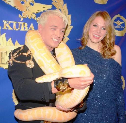 Kuba Ka with his pet albino Anaconda Zeus & Actress Maitland Ward